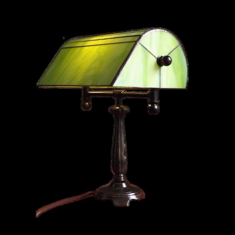 """Bankerlampe """"Belle Epoque Grün"""" im Tiffany Styl"""