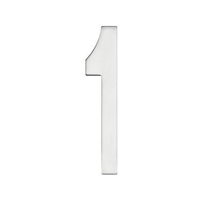 Eins silberfarbene Hausnummer in mattem Edelstahl