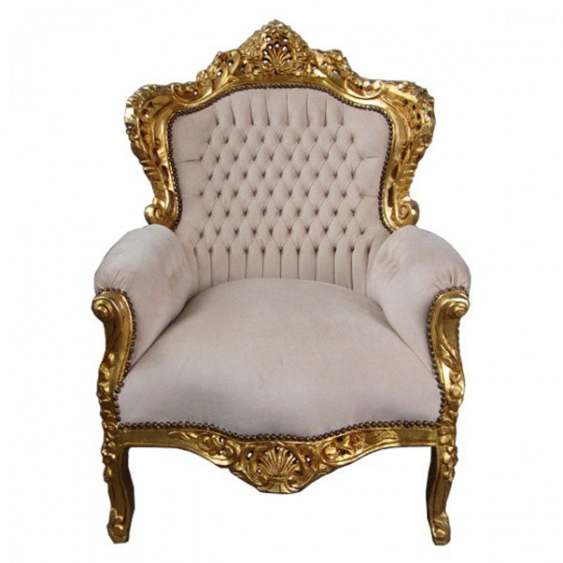 Sessel Stoff Barock Design beige Stoffbezug vergoldeter Massivholz Rahmen Salon