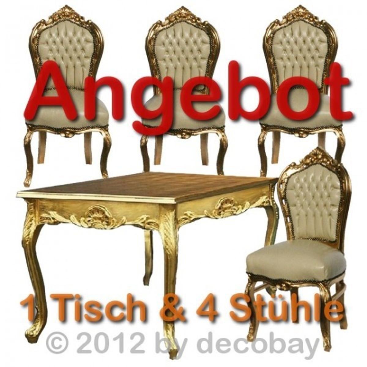 [Paket] Ausgefallene Esstische Esszimmer Stühle Antik Unschlagbares Angebot  Beige Gold