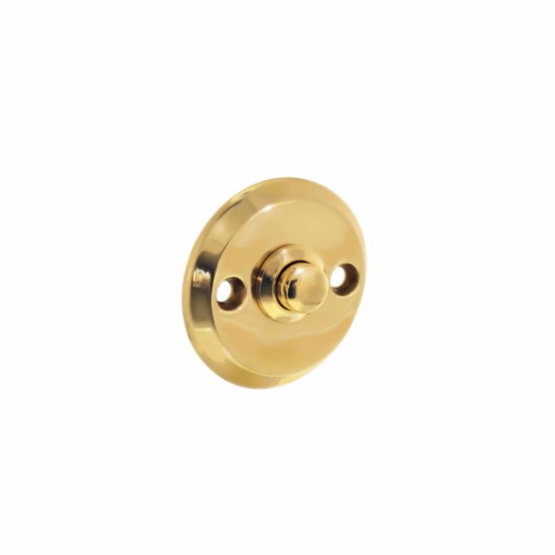 Klingelknopf aus Messing rund für eine Haustür. Typische Türklingel für Ihre Tür.