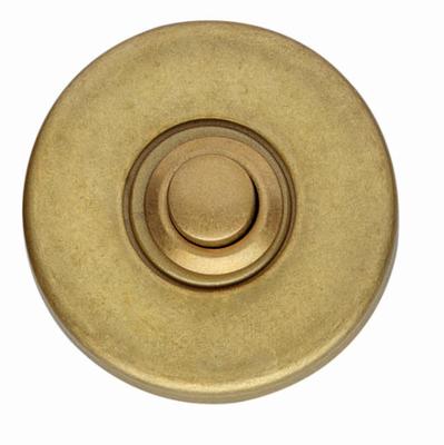 Runde Türklingel in Messing matt als Klingeltaster rund ein feiner Vintage Türgong.