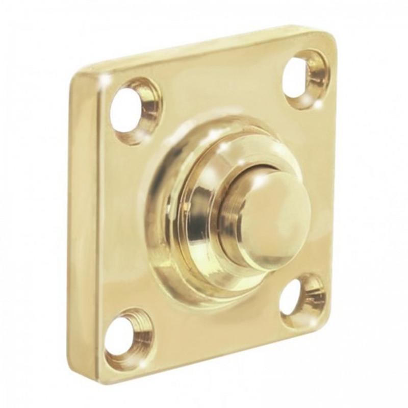 Eckige Türklingel aus Messing glänzend ideal für Ihre Haustür oder Wohnungstür.