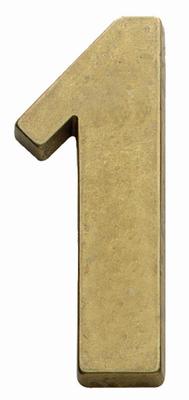 Hausnummer 1 aus Messing als gepflegte Hausnummer Landhausstil für Ihr Haus.