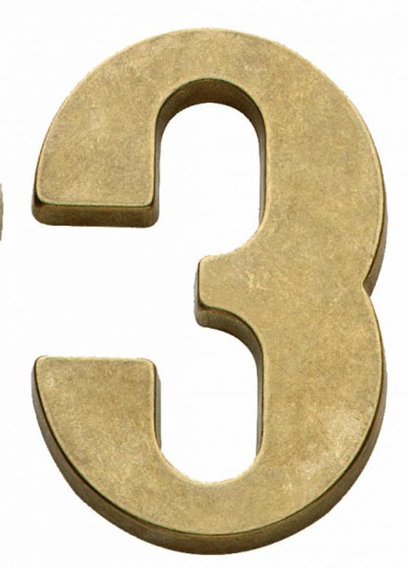 Hausnummer 3 aus Messing matt als Schild für Ihr Haus. Sehenswerte Hausnummer antik.