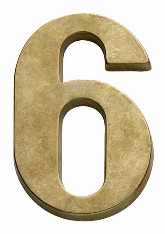 Hausnummer 6 aus Messing als Adresse Schild zur Kennzeichnung für Ihr Haus.