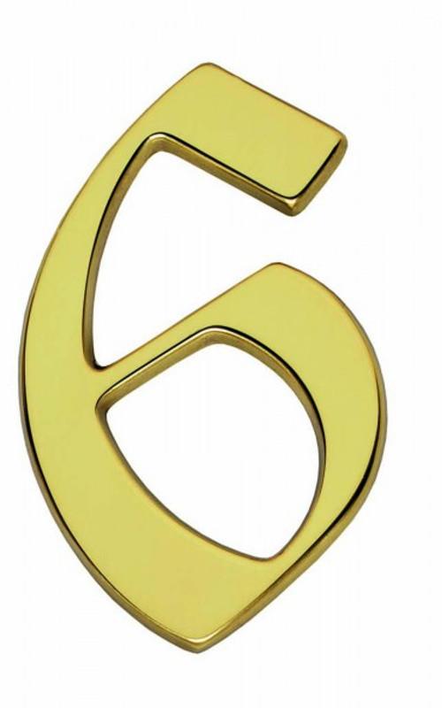 Hausnummer 6 als glänzendes Messing Schild als Ziffer und Zahlenschild für Gebäude.