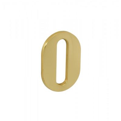 Hausnummer 0 aus Messing poliert als klassisch schlichtes Hausnummernschild.