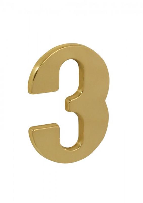 Hausnummernschild 3 aus Messing poliert klassisch als Postschild und Zimmernummer.