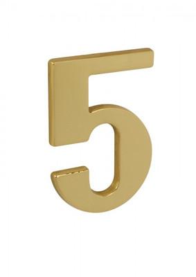 Haus Nummer No 5 aus Messing poliert schlicht aber fein als Hausnummernschild.