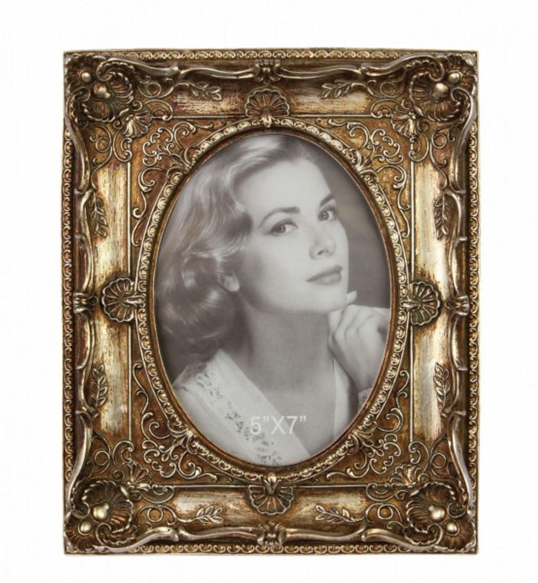 Silberner Bilderrahmen mit Patina nostalgisch für Fotos 5x7 Bildausschnitt kaufen.