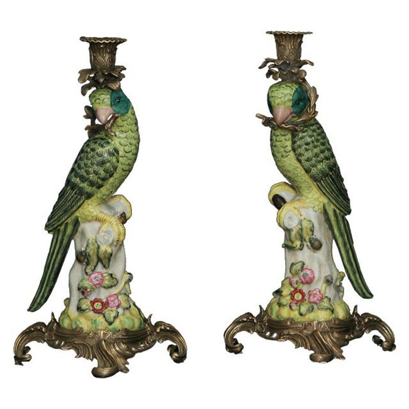 [Paket] Papagei Kerzenständer Set Antik Porzellan Messing Tischleuchte Handarbeit
