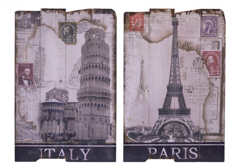 Italien und Paris Wand Bilder aus Holz zur Dekoration in Esszimmer und Küche kaufen.