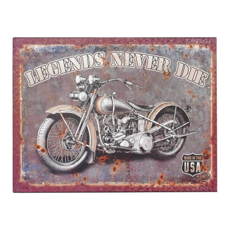 Blechschild USA Motorrad kaufen mit coolem Legends never die Spruch für Bike Fans.