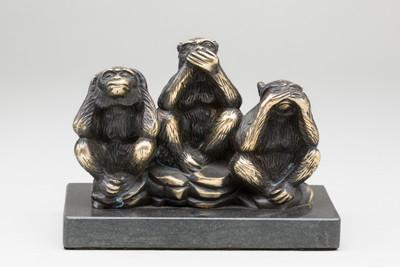 Affen Tierfiguren aus Messing , die 3 Affen zeigen als lustige Affenbande.