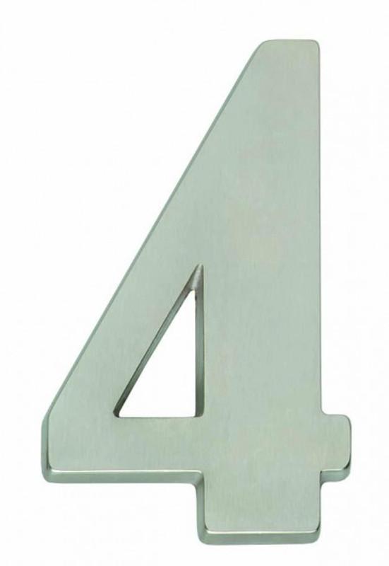 Hausnummer 4 als Zahl 4 als Beschlag matt kaufen als schlichte Haustürnummer.