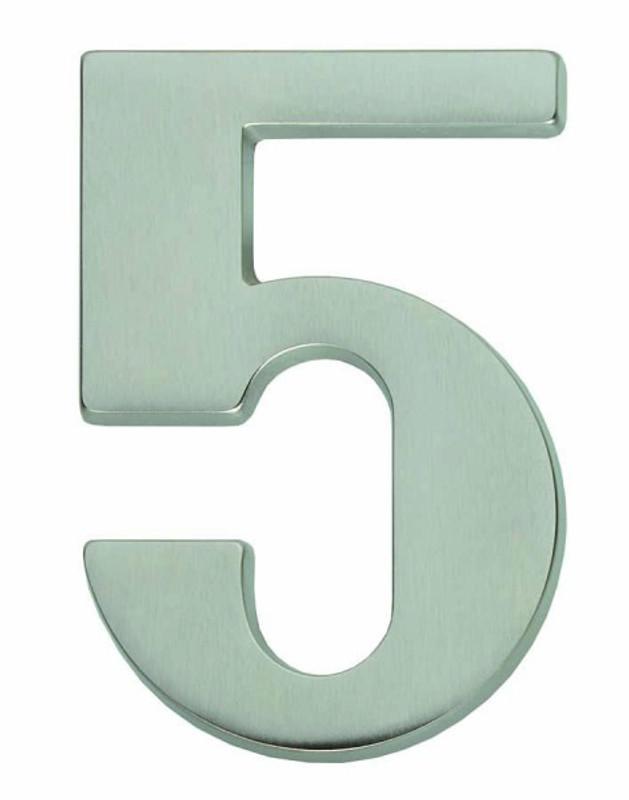 Hausnummer 5 als Beschriftung für Ihr Haus kaufen im einfachen matt vernickelt Look.