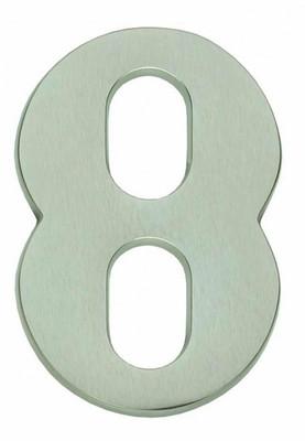 Hausnummer 8 matt vernickelt als einfacher Türbeschlag für Ihre Haustür kaufen.