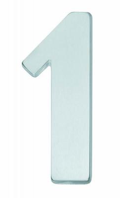Hausnummernschild Nummer 1 matt verchromt als Nummer für Haustür kaufen.