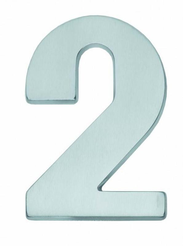 Hausnummer 2 matt verchromt zur Beschilderung Ihrer Haustür Nummer 2 kaufen.