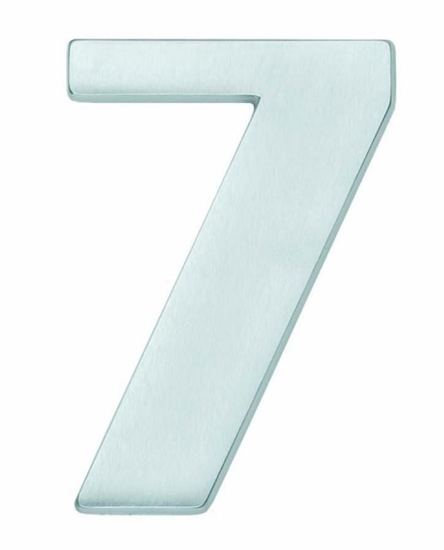 Hausnummer 7 matt verchromt als einfaches Haustür Schild in Form einer Zahl kaufen.