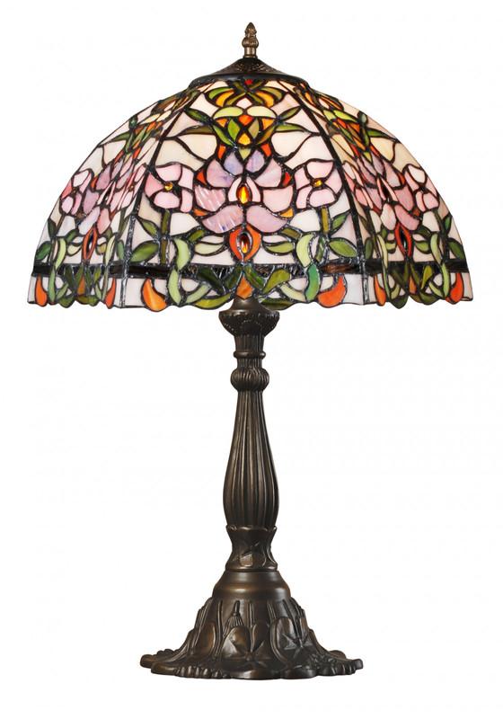 Romantische Tiffany Tischlampe mit Blumen-Muster