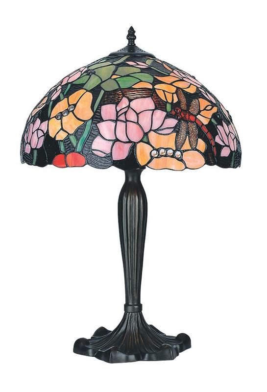 Retro Tiffany Tischlampe mit Blumen Motiv