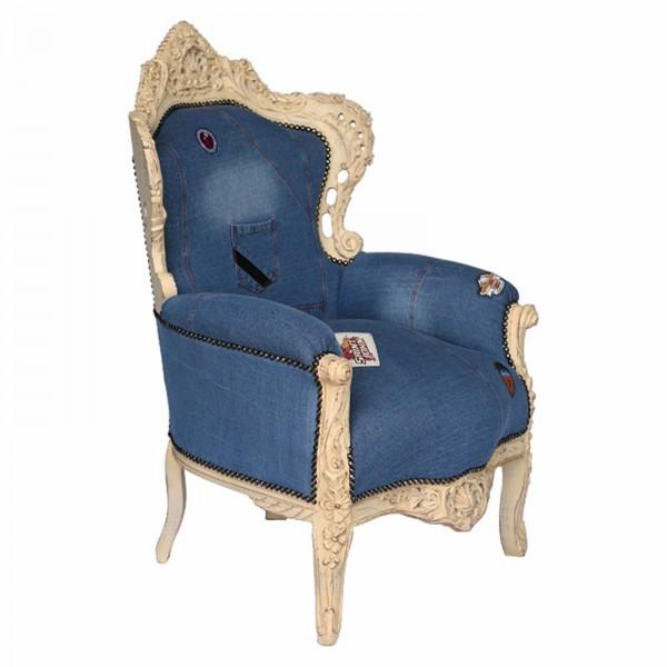 jeans design barock sessel massivholz rahmen beige antiker thron, Mobel ideea