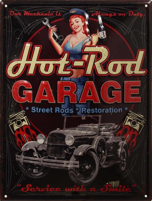 Hot Rod Gerage Schild Werbetafel Blechschild Dekoration Street Rods Werkstatt