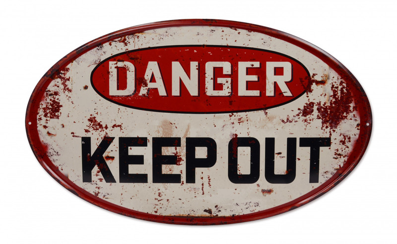 Danger Keep out Blechschild Groß 33,5 x 55,8 cm Dekoration Vintage Design