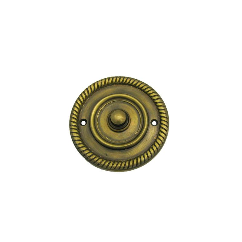 Türklingel Knopf rund aus Messing mit schön antike Patina für Ihre Tür kaufen.