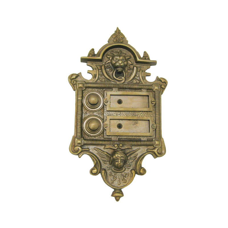 Zweifach Klingel für 2 Bewohner als 2 Knöpfe für Haustür aus Messing antik.