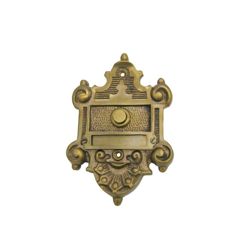 Messing Klingel antik gestaltet als reich verzierter Klingeltaster und Klingelschild.
