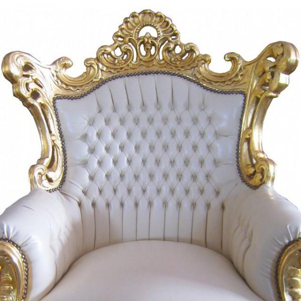 Bequeme Sessel Barockmöbel weiß Wohnzimmer Sitzmöbel mit gold ...