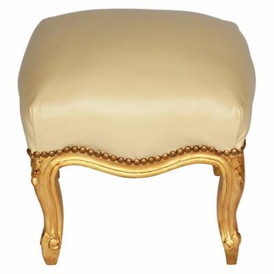 Lederhocker Barockmöbel Hocker aus Holz Wohnzimmer beiger Schemel für Sessel