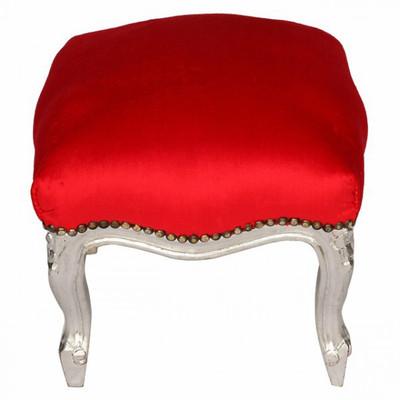 Hocker aus Holz versilbert roter Bezug im barocken Stil Polsterhocker für Sessel