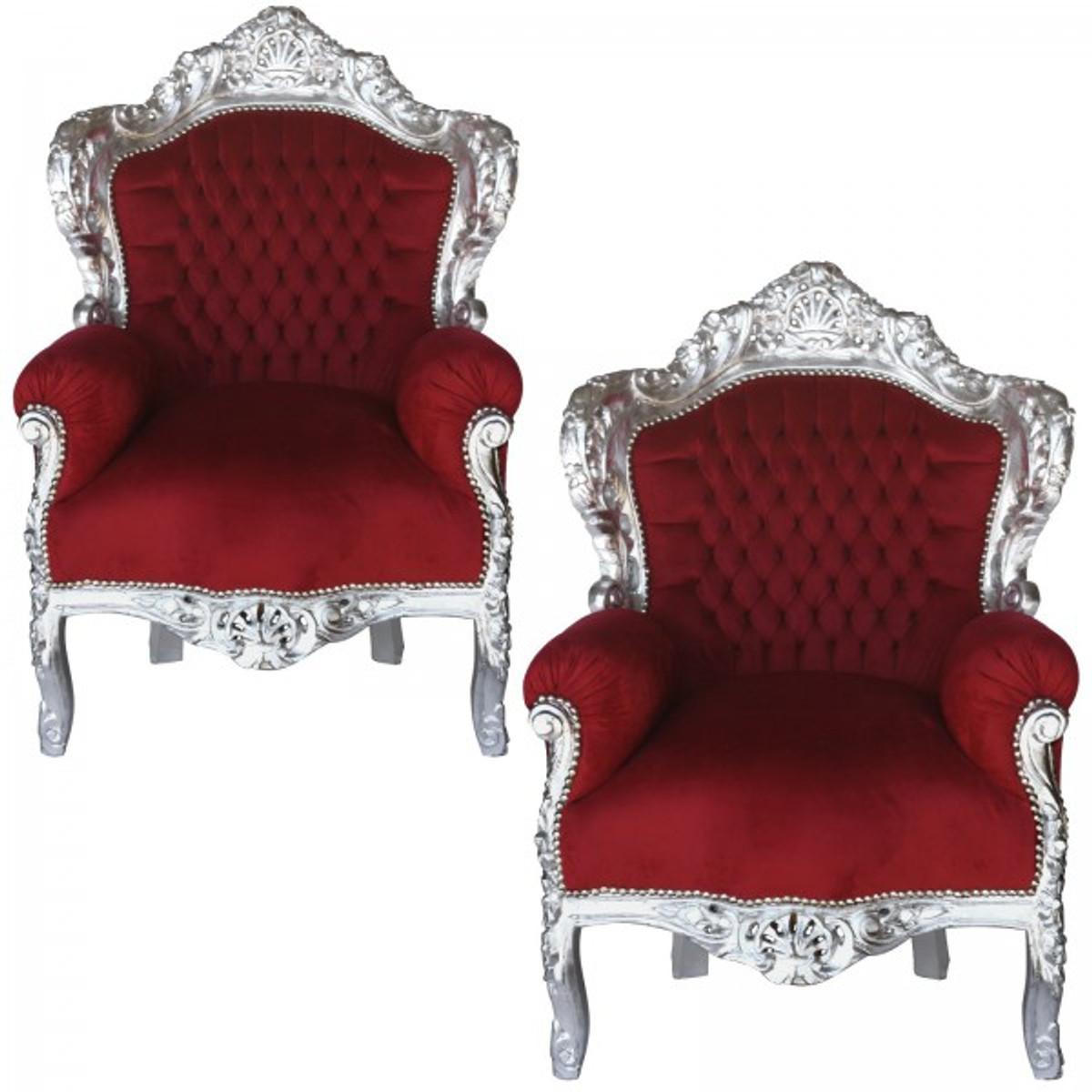 [Paket] Zwei Sessel Bordeauxrot Barock Polstermöbel Wohnzimmer Set Massiv  Holz Silbern