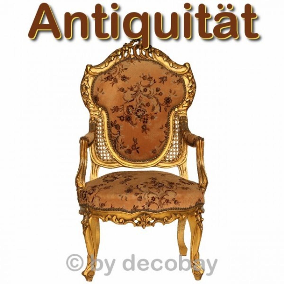 Alte Möbel Antiquitäten Barock Stuhl Armlehne 1 Sessel Beige Blumen  Holzrahmen