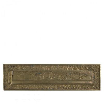Briefkasten Messing Tür Briefschlitz im antiken Stil zum Einbau in die Haustür. Verzierter Schlitz für Post und Zeitung.