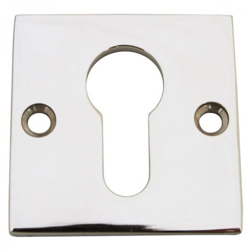 Profilzylinder Rosette Türbeschlag Schloss Zubehör für Zimmertür und Haustür. PZ Schlüsselrosette aus Nickel Glanz.