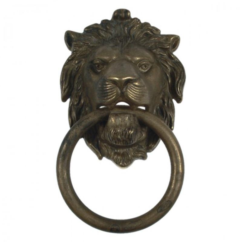 Türklopfer Haustür Löwe Kopf Motiv aus Messing patiniert mit Ring. Schmiedeiserner und rostfester antiker Türbeschlag.