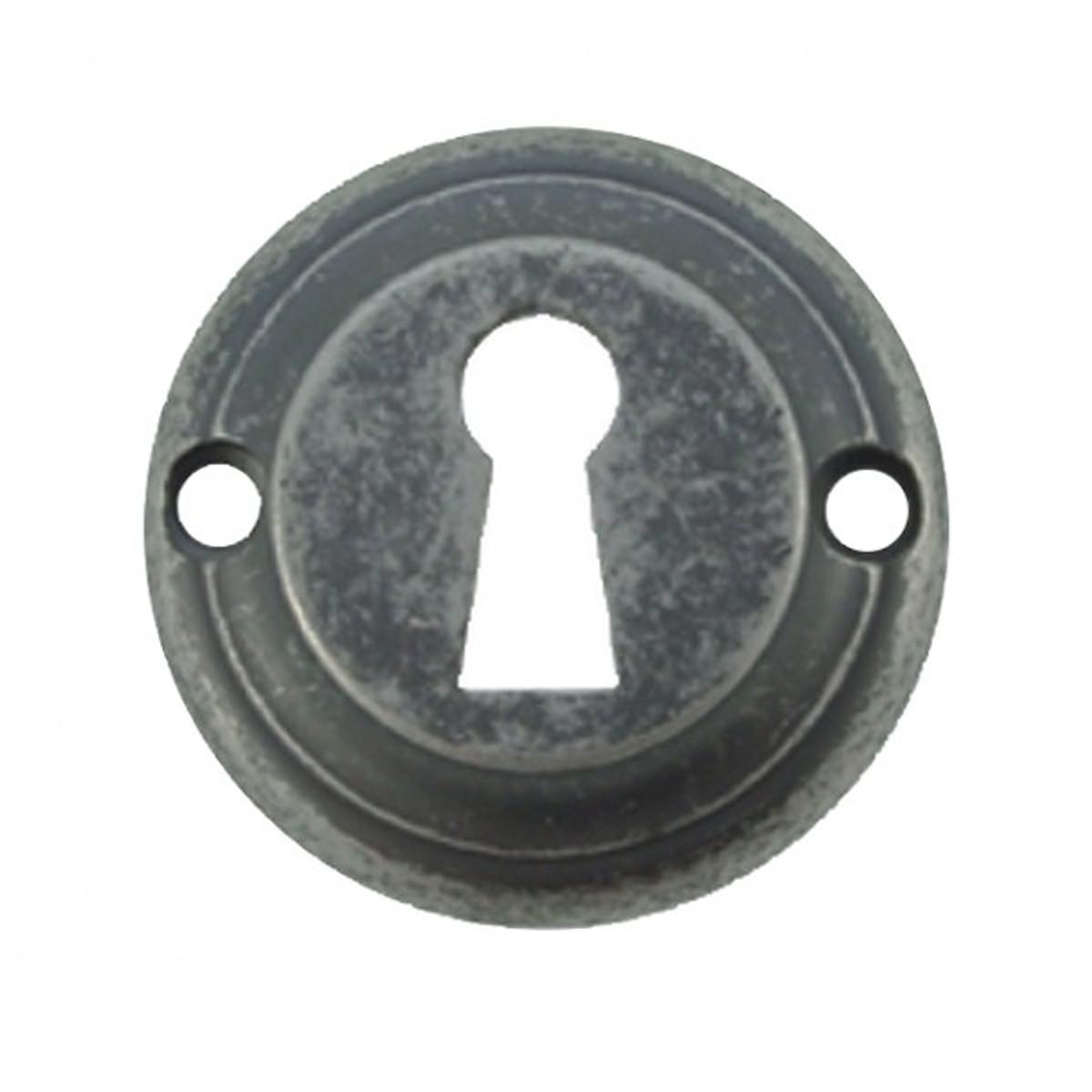 Türschloss kaufen Zubehör Rosette Abdeckung für das Buntbart BB Schlüsselloch aus Messing alt verzinnt.