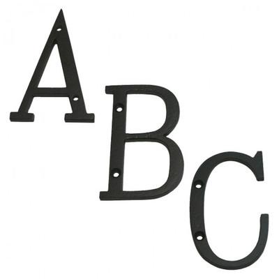 Buchstaben Hausnummer Metall Eisen schwarz lackiert von A bis Z wählbar für die Wand Montage auf Stein oder Holzwand