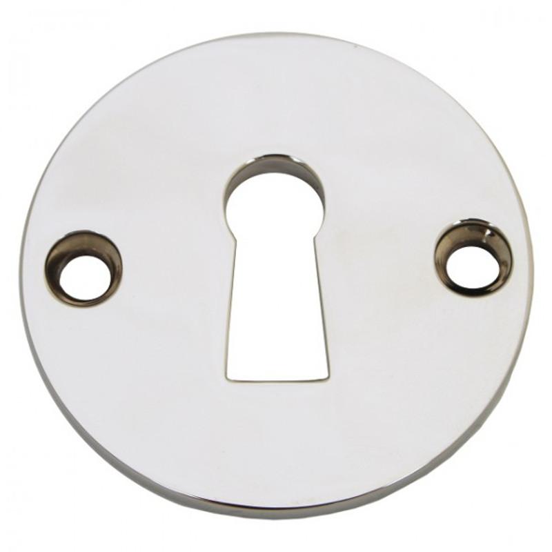 BB Rosette Nickel Glanz in runder Form als passabler Türbeschlag für Zimmertüren.