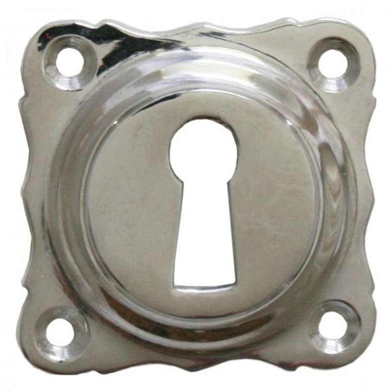 Buntbart Schlüsselrosette aus Nickel. Praktisches Ersatzteil für Zimmertür Garnitur.