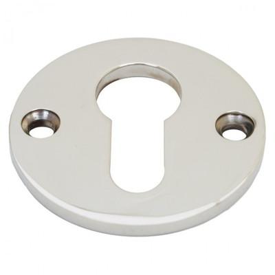 PZ Schlüssel Rosette einzeln. Runde Profilzylinder Schlüsselrosette aus glänzendem Nickel, ein Türbeschlag fürs Haus.