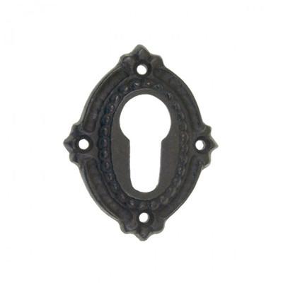 PZ Schlüsselrosette Profilzylinder Eisen antik, im Barock Nostalgie Stil, auch in Messing patiniert erhältlich