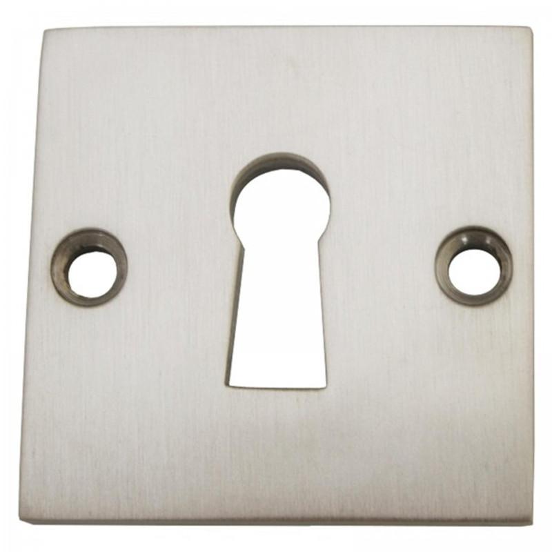 BB Rosette für Zimmertür aus Nickel matt. Einfacher Beschlag für ein Schlüsselloch.