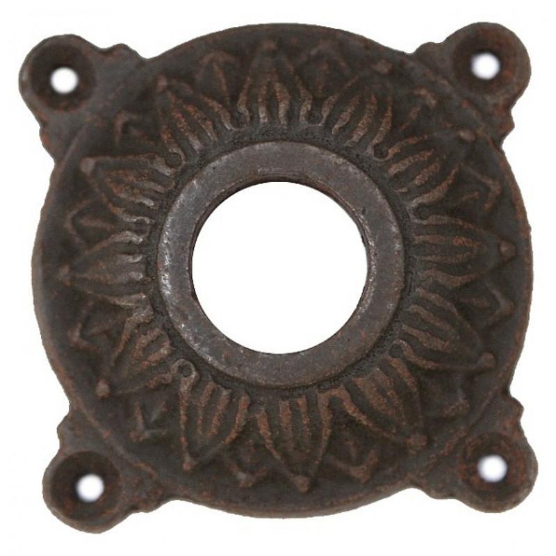Drückerrosette aus Eisen antik im opulenten Barock Stil. Tolle Türen Zubehör antik.