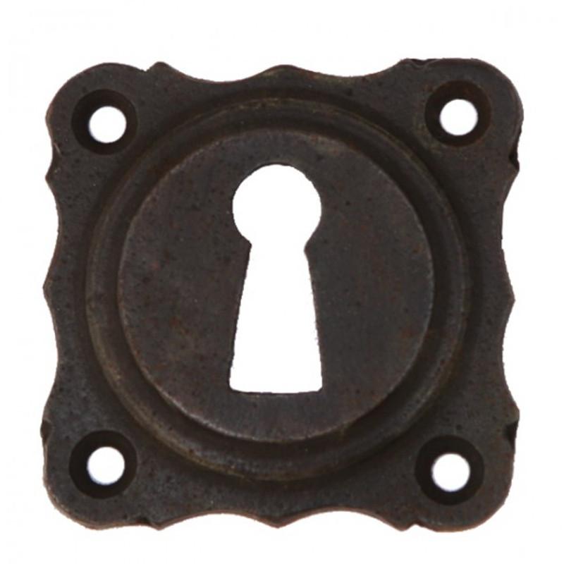 Türschloss Schlüsselrosette BB Eisen antik, im rustikalen Nostalgie Stil, auch in Nickel Glanz, Messing patiniert und poliert erhältlich